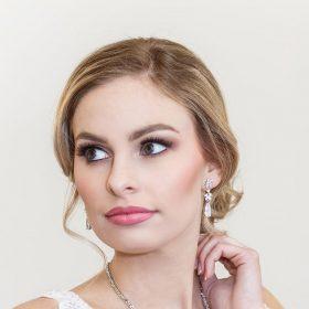 Parure bijoux mariée dorée en cristal zircon
