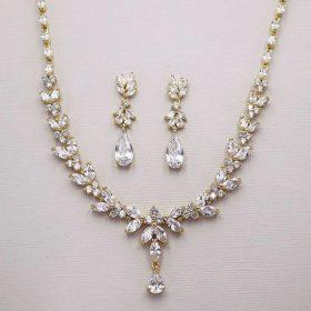 Parure bijoux mariée doree en cristal zircon Sonia