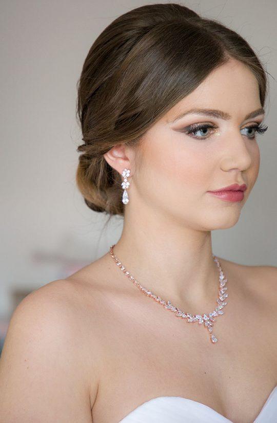 Parure bijoux mariée dorée en cristal zircon Sonia
