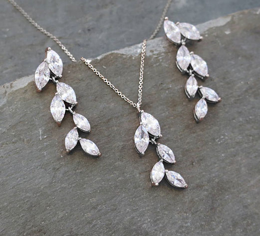 Parure bijoux mariée cristal Swarovski feuilles