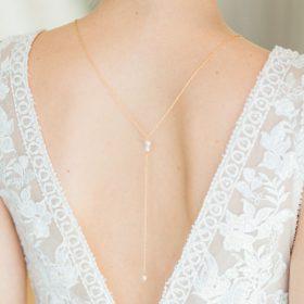 Bijou de dos mariage, collier doré perles Swarovski Sandrine