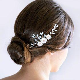 Bijoux de cheveux mariage feuilles fleurs et strass