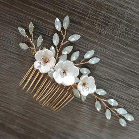 Bijoux de cheveux mariage feuilles fleurs et strass Irène