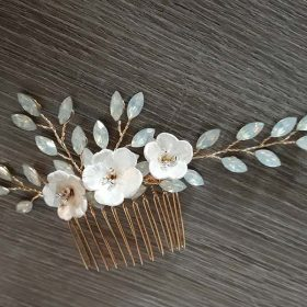 Bijoux de cheveux mariage feuilles fleurs strass Irène
