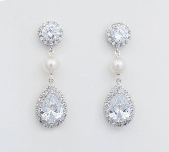 Boucles d'oreilles mariage cristal et perles Swarovski Betty