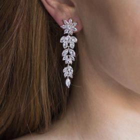 Boucles d'oreilles mariée élégantes en cristal Zircon Claudia 2