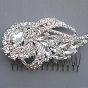 Peigne coiffure mariage, bijoux de cheveux cristal Dorothée