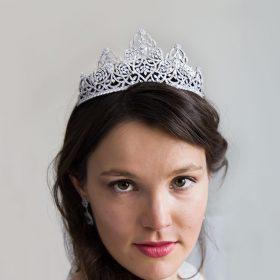 Diadème mariage princesse, couronne de luxe en cristal Margaux 2