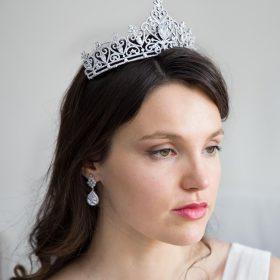 Diadème mariage princesse, couronne diamantée Adeline