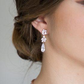 Boucles d'oreilles mariée pendantes diamant Zircon