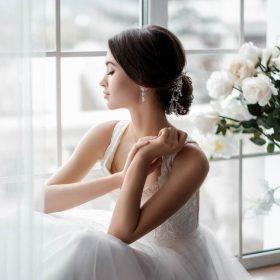 Boucles d'oreilles mariée pendantes diamant Zircon Sonia