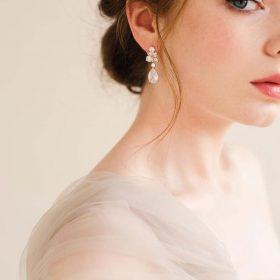 """Boucles d'oreilles pour mariée rose gold originales """"Pauline"""""""