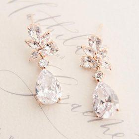 Boucles d'oreilles pour mariée rose gold originales