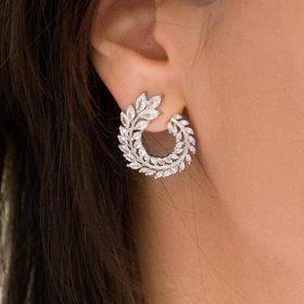 Boucles d'oreilles mariage clous feuilles romantiques