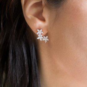 Boucles d'oreilles mariage clous fleurs romantiques zircon