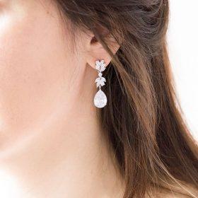 Boucles d'oreilles mariage pendantes cristal Zircon