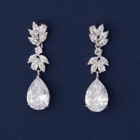 Boucles d'oreilles mariage pendantes cristal Zircon Andrea
