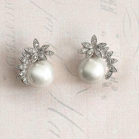 Boucles d'oreilles mariage perles strass romantiques Nelly