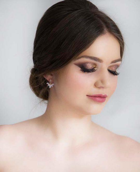 Boucles d'oreilles mariée rose gold cristal