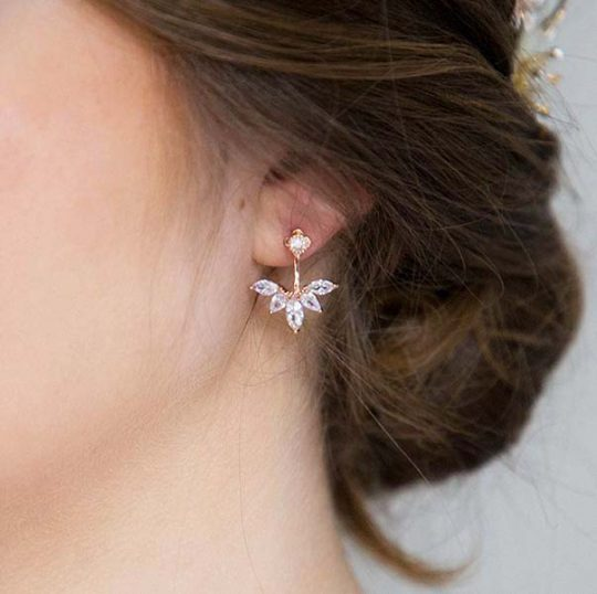 Boucles d'oreilles mariée rose gold cristal Mélissa