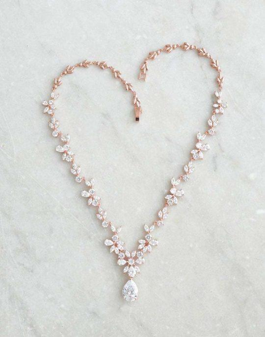 Parure bijoux mariée rose gold chic