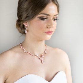 Parure bijoux mariée rose gold chic en cristal Zircon MELODIE