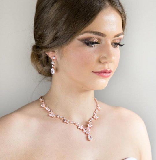 Parure bijoux mariée rose gold chic en cristal zircon