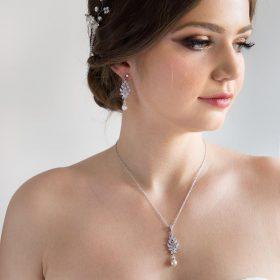 Parure de bijoux mariage en cristal et perles Swarovski