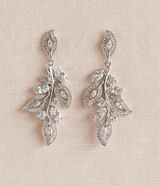Boucles d'oreilles mariage bohème feuilles en cristal Suzanne