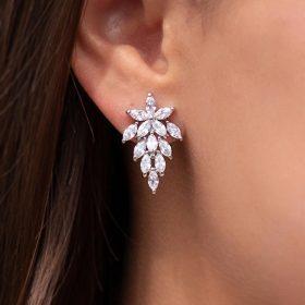 Boucles d'oreilles mariage originales romantiques en cristal