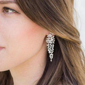 Boucles d'oreilles mariage pendantes romantiques en cristal