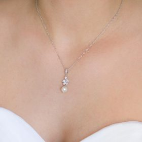 """Collier mariage perles et cristal création originale """"Annalisa"""""""