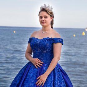 Collier couronne mariée robe bleu