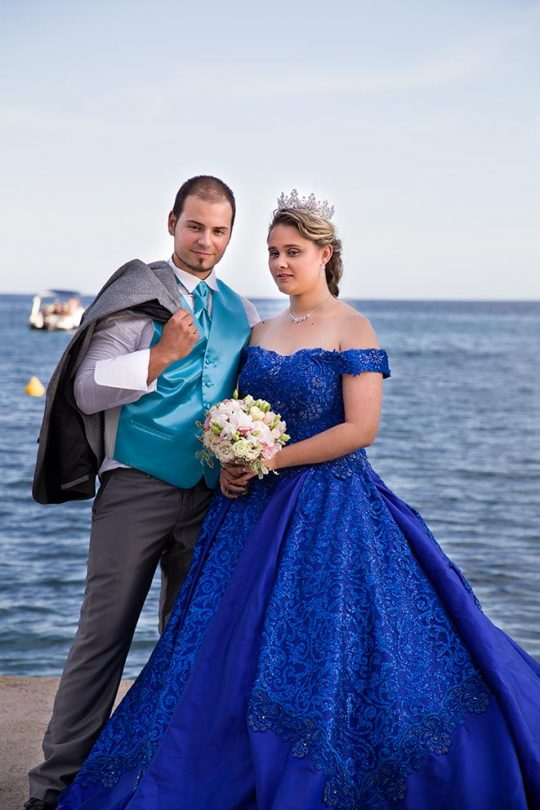 Collier couronne mariée robe bleu 2