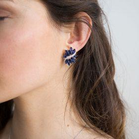 Boucles d'oreilles mariage bleu élégants strass Emira