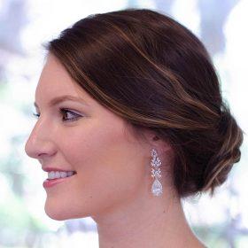 Boucles d'oreilles mariage pendantes chic en Zircon