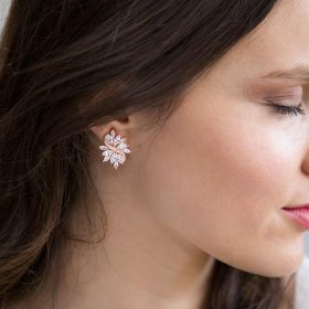 Boucles d'oreilles mariage rose gold chic strass Evalyne