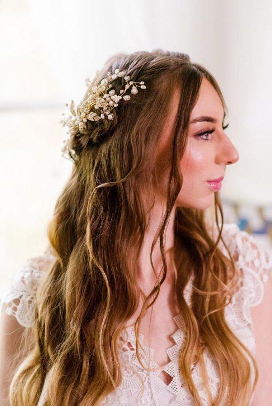 Bijoux de cheveux doré mariée bohème chic