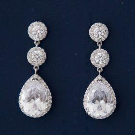 """Boucles d'oreilles mariage élégantes cristal Zircon""""Laurène"""""""