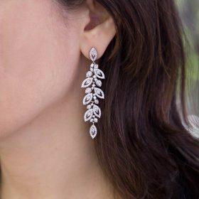 Boucles d'oreilles mariage feuilles pendantes Darina
