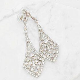 Boucles d'oreilles mariage rétro chic cristal Swarovski
