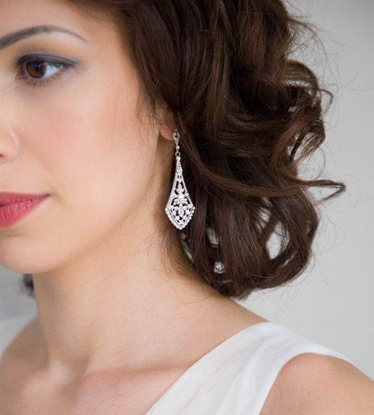 Boucles d'oreilles mariage rétro chic cristal Swarovski Manon