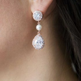 Boucles d'oreilles mariage rose gold perles Swarovski « Estelle »