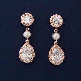 Boucles d'oreilles mariage rose gold perles Swarovski