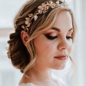 Couronne bohème fleurs, diadème mariage feuilles métal Odélie