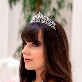 Diadème soirée mariage, tiare princesse argenté Elina