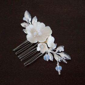 Petit bijou de cheveux mariée bohème fleurs feuilles Apolline