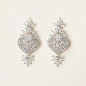 Boucles d'oreilles chandelier diamantées mariage art-deco