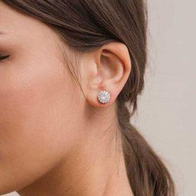 Boucles mariage cristal, clous d'oreilles rondes zircon Agatha