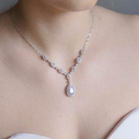 Collier mariage cristal zircon, bijoux mariage élégant